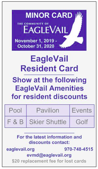 EagleVail Resident Card Minor
